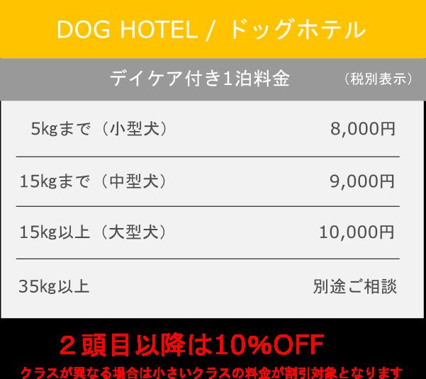 ホテル料金表